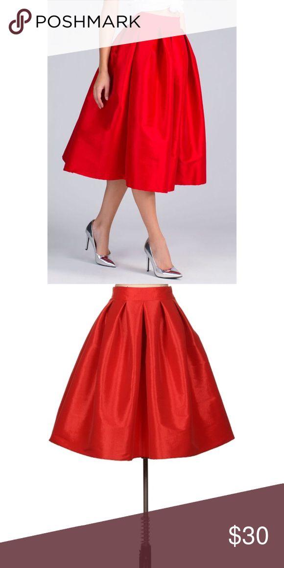"Red Midi Flared Midi Skirt 😍 BOX PLEATED FLARE MIDI SKIRT. WAIST TO HEM LENGTH 27"" 60% POLYESTER 35% NYLON 5% SPANDEX ❣ Skirts Midi"