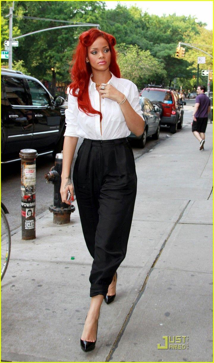 Rihanna's Street Style: Retro Pinup hairstyle