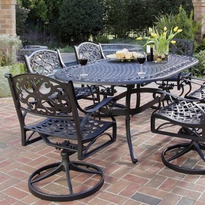 Attractive Home Styles Biscayne Outdoor Dining Set, Black Finish     Product  Description: This Biscayne Outdoor Dining Set Includes Oval Table And Six  Swivel Arm ...