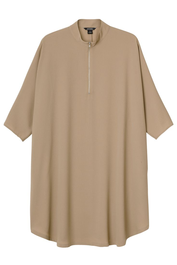 A shirt dress that beats out an amazing rhythm and sings for fuss-free polish. With batwing arms, a flowing rounded hem, and a slightly raised collar with a silver zip-up design.  colour: alias beige In a size small the chest width is 158 cm and the length is 93 cm. The model is 178 cm and is wearing a size small.