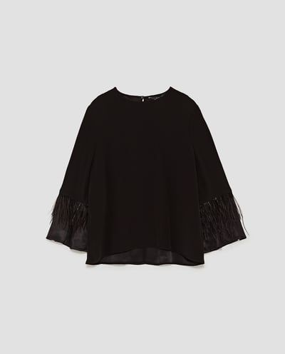 65673945be7215 TOP WITH FEATHER TRIM ON SLEEVES-TOPS-SALE-WOMAN | ZARA United Kingdom