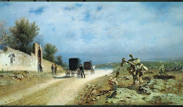 Francesco Lojacono Strada di campagna (Un giorno di caldo in Sicilia) 1877 olio su tela Napoli, Museo di Capodimonte (in deposito a Roma, Camera dei Deputati)
