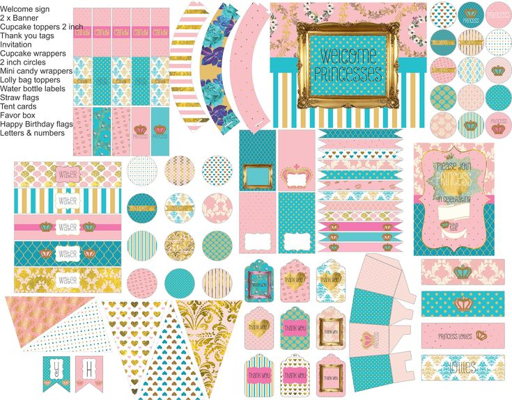 Princess birthday party, princess party printable in pink, gold and turquoise, everything you need for your princess party
