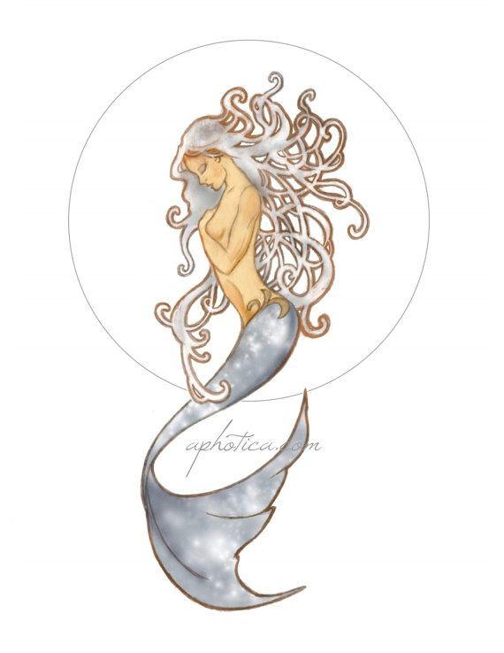 Art nouveau sirena originale arte stampa 5x11