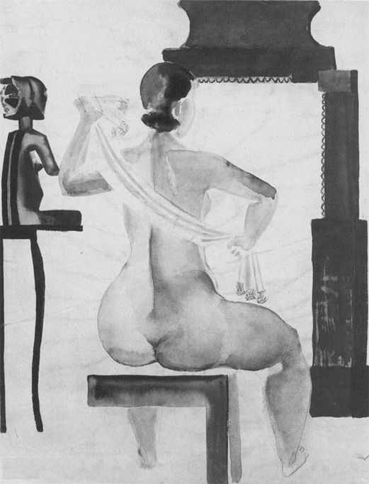 The Model in front of a mirror.  1928 year  Graphics  Moscow. The State Tretyakov Gallery