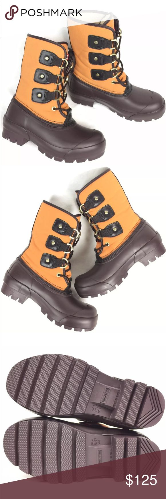 Hunter 'Cort' Orange / Brown Rubber Duck Boots Just try on | Boots have minor marks on the rubber material due to storage. | Actual Pictures | Original box not included.  Faux Fur Lining Hunter Boots Shoes Winter & Rain Boots