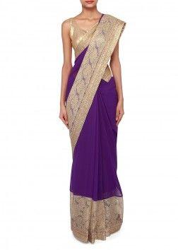 Purple saree adorn in zari and kundan embroidery only on Kalki