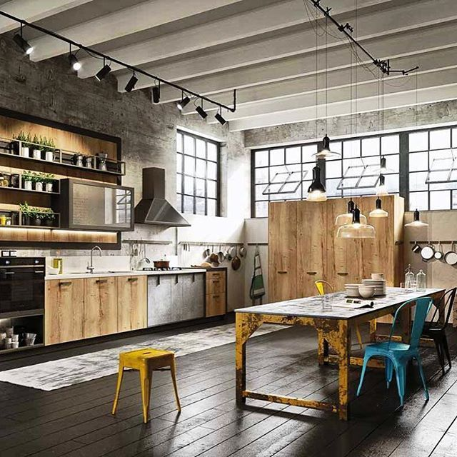 #designloft_storytime Индустриальный стиль кухни в полной мере оценят те, кому по душе просторные помещения с достаточным количеством света и воздуха. Высокие потолки, выкрашенные в белый цвет, придают комнате дополнительный объем. Деревянные балки, трубы, стропила и опорные столбы, имеющиеся в квартире, не придется прятать или маскировать. Стиль лофт не нуждается в изысканном декоре – в интерьере кухни будут уместны спокойные тона (белые, сероватые, коричневатые, черные и синие). Внешний…