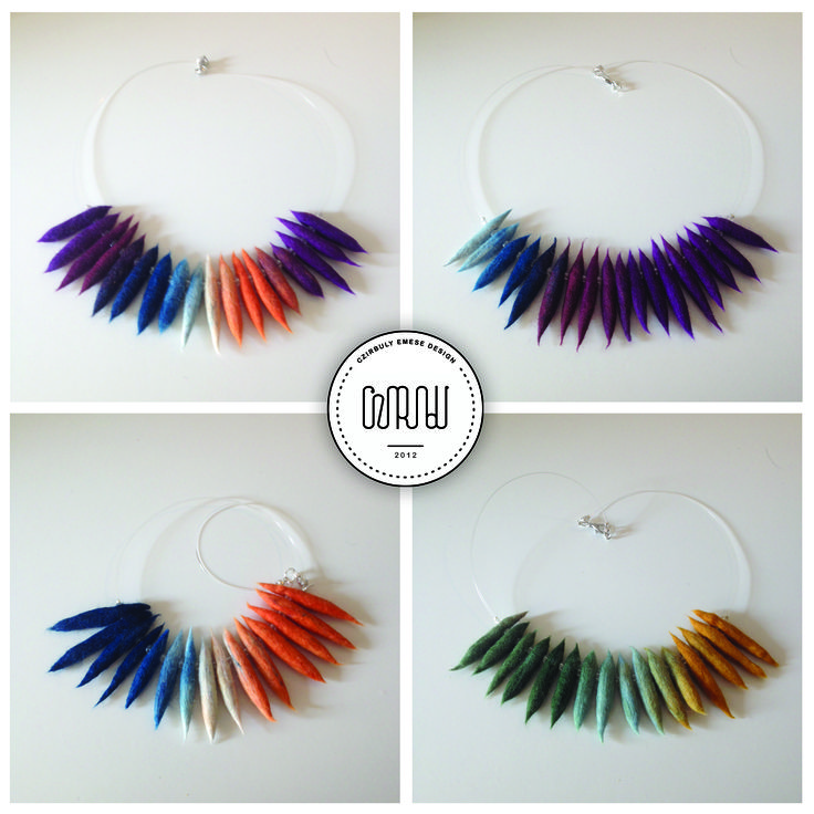 Felted necklace in rainbow colours by Cziribu