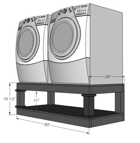 Washer Dryer Pedestal with open bottom for baskets, make it yourself!