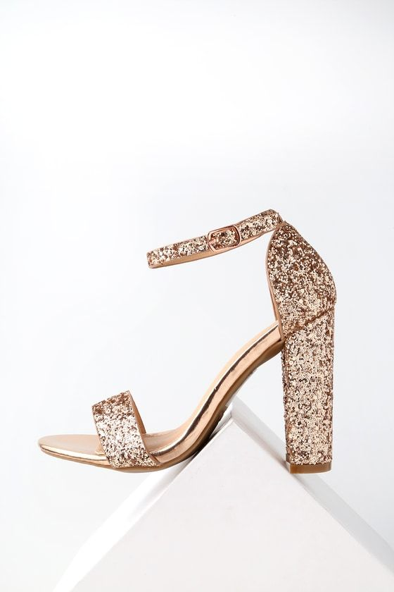 abd6333e36b Pair your party dress with the Perrie Rose Gold Glitter Ankle Strap Heels  for a show-stopping look! Shimmering rose gold glitter decorates a minimal  toe ...