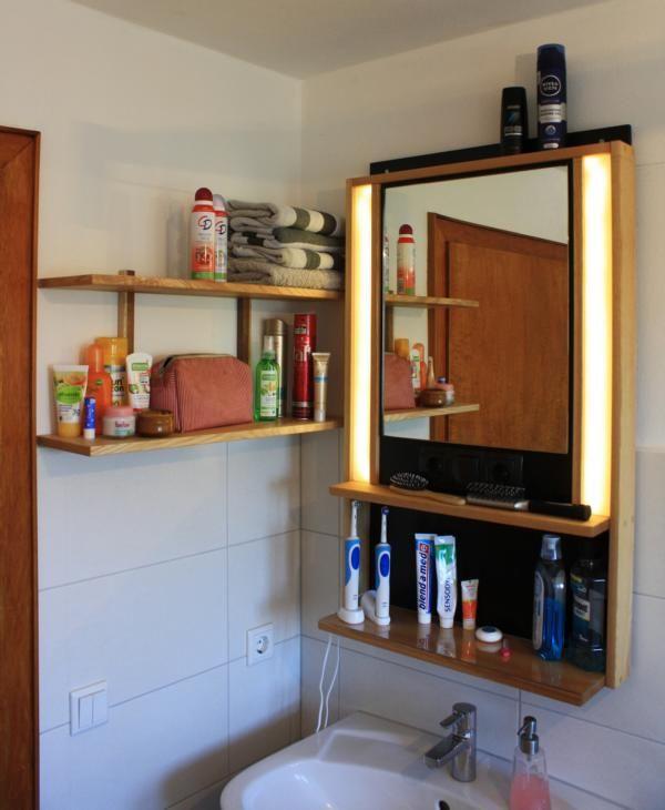 Badezimmerspiegel Regal Esche Mit Led Warmweisser Beleuchtung