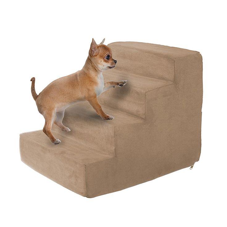Trademark Global PETMAKER High-Density Foam Pet Stairs - 4 Steps - Tan