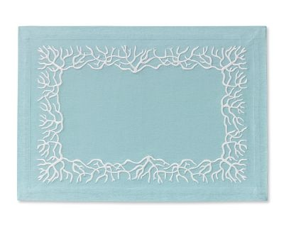 Coral embroidered placemats from Williams Sonoma. Need.