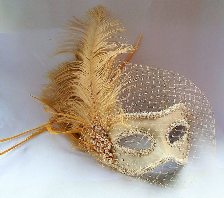 Champagne Peacock Mask,Bridal Mask,Ostrich Feather Mask,Birdcage Veil Masquerade Mask,Peacock Pearl ,Crystal Mask by IrmasElegantBoutique on Etsy