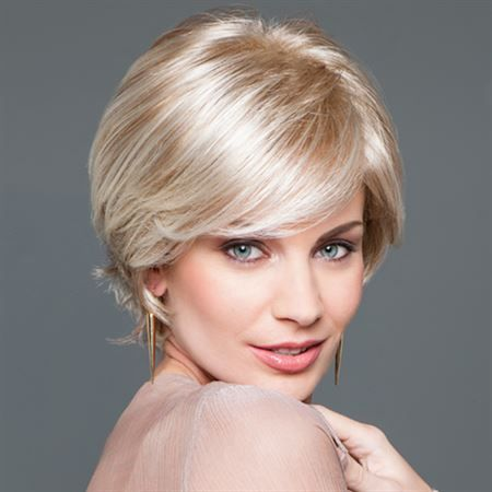 Class Act Wig -  GABOR® NEXT COLLECTION  Get ready to love your hair. Softly sculpted layers lift this short style for a look that says sophisticated and put-together from every angle.  Softly, sculpted layers make up this short silhouette. Eyebrow length bangs can be worn straight down, to the side or away from the face. Longer side lengths can be worn in front of the ear or tucked behind and the razor-cut layers at the nape result in a soft tapered neckline.