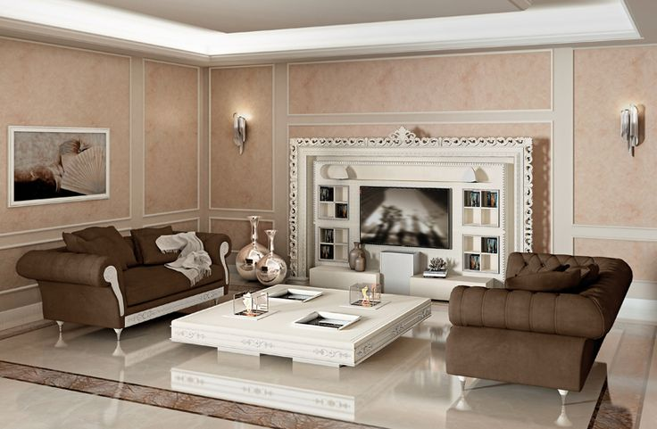 #vismaradesign presents a baroque living room with its majestic Wall Home Cinema, the functional 4 windows table and the comfy Sofa Chest Nouveau .#luxurious #italianfurniture #madeinitaly #luxury