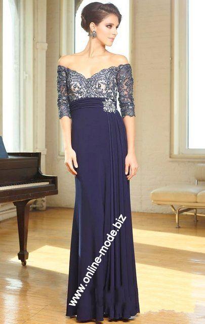 Schulterfreies Abend Kleid in Marine Blau von www.online-mode.biz