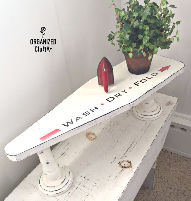 How fabulous is this! I had to share it will all of you. Farmhouse with charm and so much character. Drop by Organized Clutter and see what a unique…one of a kind shelf you can create with a small ironing board. You may not find the exact same pieces but you certainly might find similar …