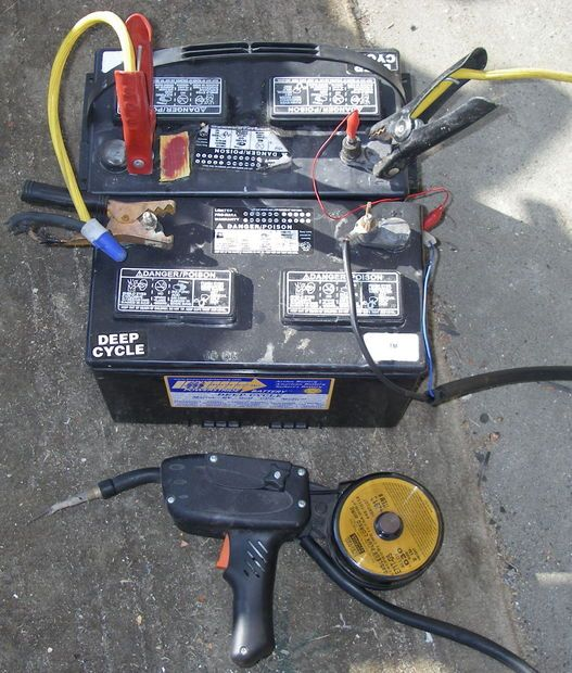 DIY Welder and lots of info on welding.  (This guy seems nuts but it actually works...Picture of Battery Spoolgun - Flux Core Wirefeed