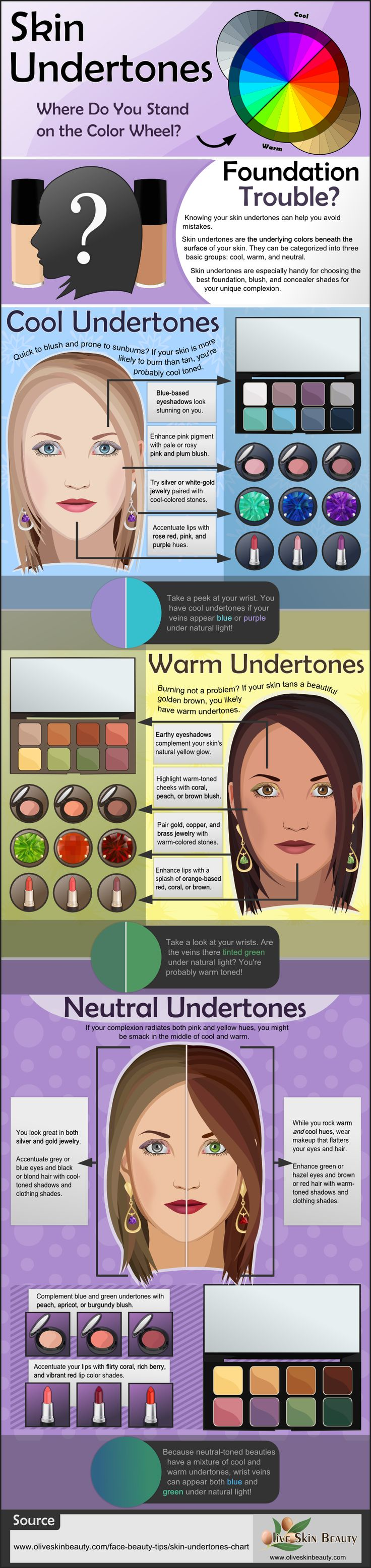 When choosing the perfect foundation match, skin undertones are especially helpful. This infographic explores cool, warm, and neutral undertones with suggestions on how to look your best no matter the category you fall into. #skinundertones #makeup #beauty: When choosing the perfect foundation match, skin undertones are especially helpful. This infographic explores cool, warm, and neutral undertones with suggestions on how to look your best no matter the category you fall into. #skinundertones #makeup #beauty