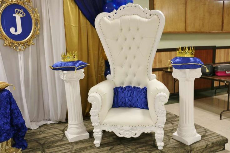 Chair of honor at the royal prince baby shower party! See more party planning ideas at CatchMyParty.com!