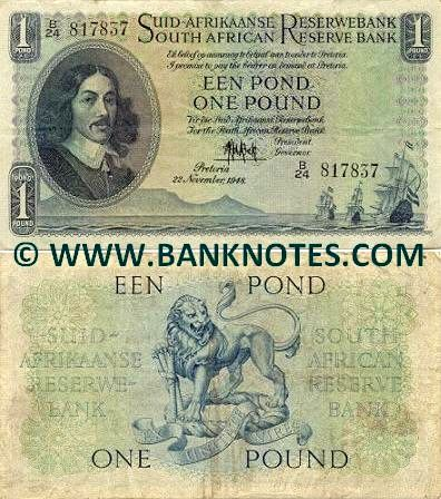 South Africa 1 Pound 1948-1959 - South African Currency Bank Notes ...
