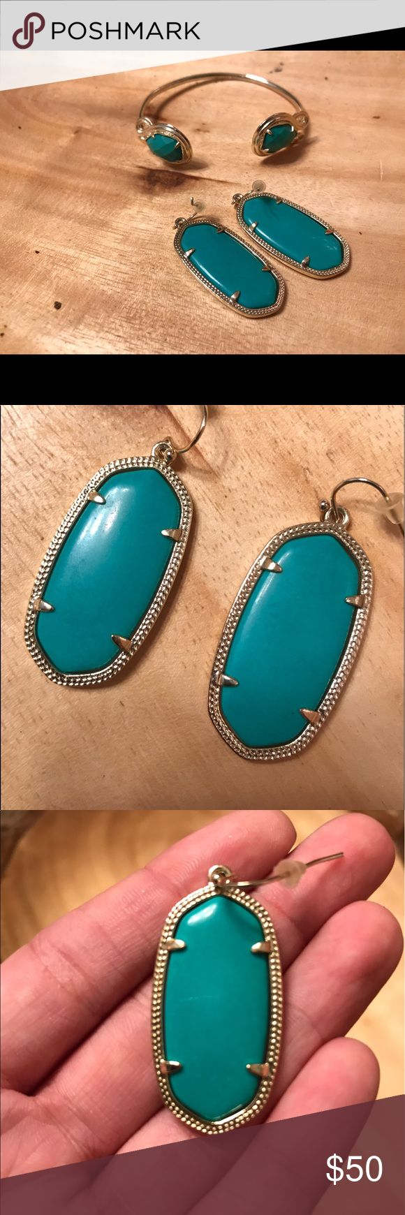 Kendra Scott Elle Earrings and Andy Bracelet This color isn't made anymore! It is more green than blue, but is more a mix of both. Beautiful color! Both in great condition with gold lining. Kendra Scott Jewelry Bracelets