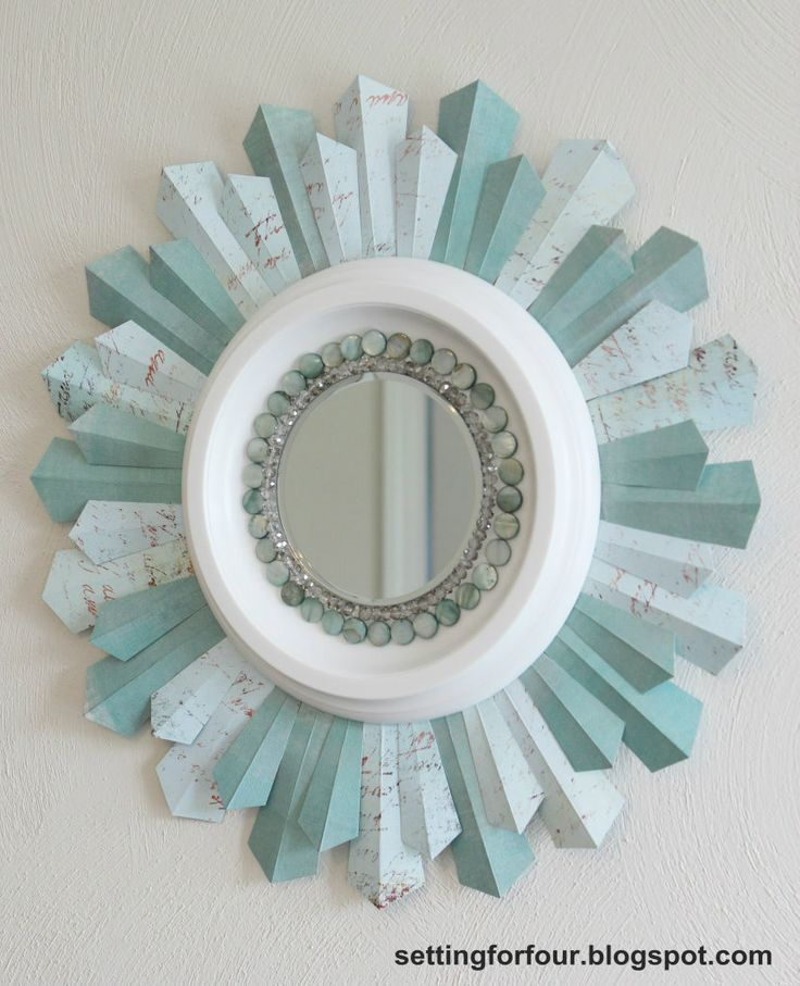 DIY Sunburst Mirror Using Scrapbook Paper Photo