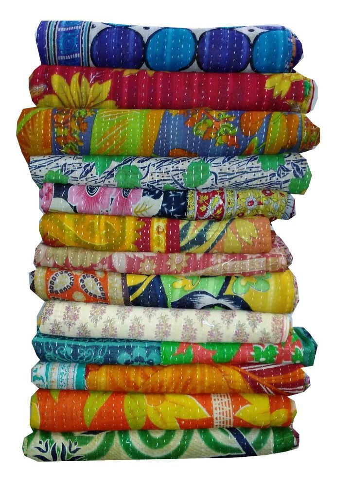 Indian Old Vintage Kantha Quilt Reversible Throw Gudari Bedspread Indian 20 PC #Handmade #Traditional