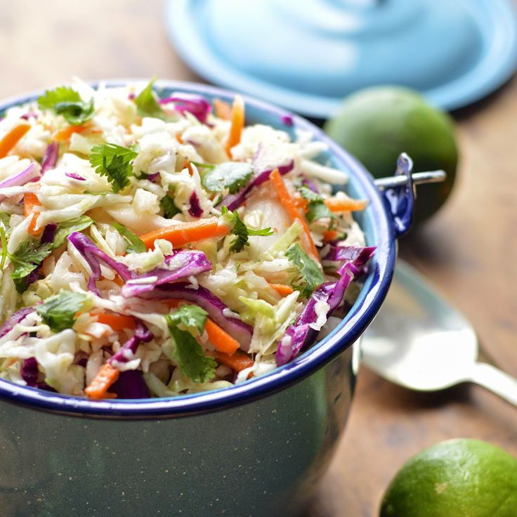 This Mexican cole slaw is lightened up with fresh lime juice and cilantro and takes about 5 minutes to make. #summersoiree