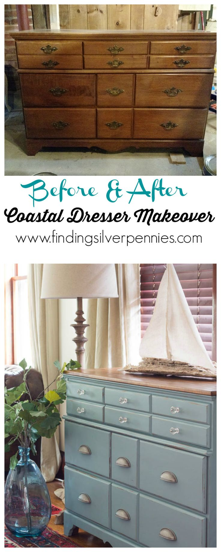 Before and After Coastal Dresser Makeover