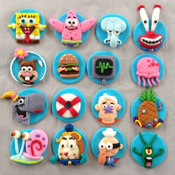 Spongebob Squarepants Cupcake Toppers (set of 16)
