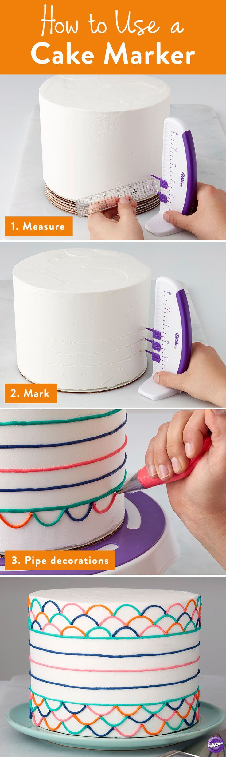 Easily mark the sides of your cake for perfect placement of accents, borders and more using the Wilton Cake Marker! Three marker pins snap into place along the edge of the vertical ruler with a stable base so you can mark the placement for decorations. Or use it to divide your cake for evenly spaced garlands, drop strings, and floral placement. So much easier than holding a ruler with one hand and trying to accurately mark with another.