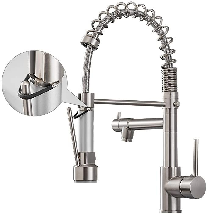 Aimadi Kitchen Faucet With Pull Down Sprayer Commercial Single Handle High Arc Stainless Steel Brushed Nickel Kitchen Sink Faucets Kitchen Faucet Sink Faucets