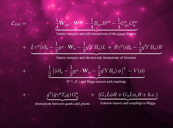 The Standard Model Lagrangian equation - Encapsulating that theory's description of all elementary particles found to date.