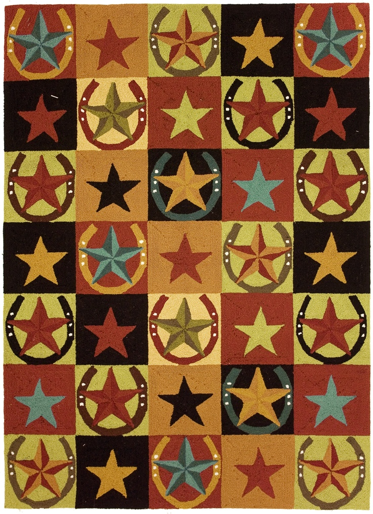 X Wild West Lucky Star Horseshoe Hand Hooked Area Throw Rug Runner