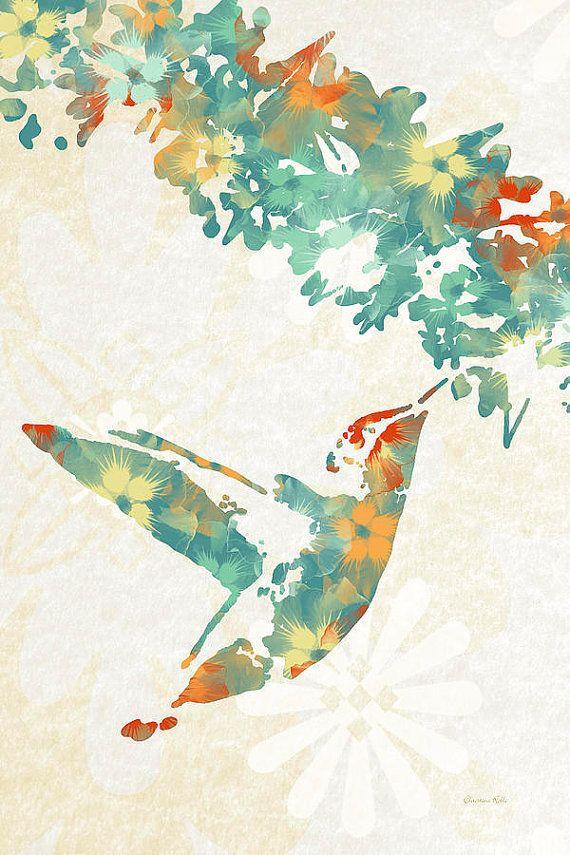 floral hummingbird art hummingbird print by christinarolloart