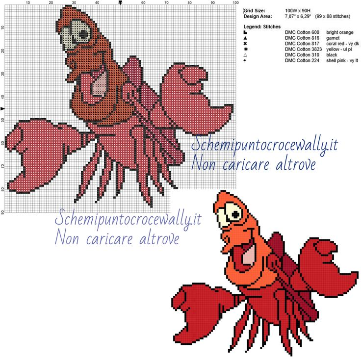 Sebastian schema punto croce Disney gratis 100x90 6 colori
