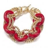 Red & Gold Link Bracelet  Kenneth Jay Lane: Charm, Bling, Link Bracelets, Baubles, Jewelry, Gold Link, Bracelet Kenneth, Red Gold