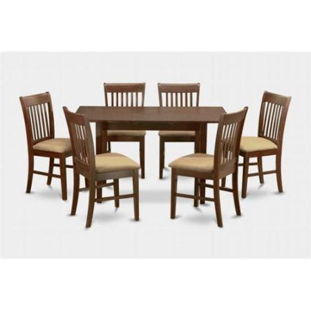 NOFK7-MAH-C 7 Piece kitchen nook dining set -Table with Leaf and 6 dining room chairs