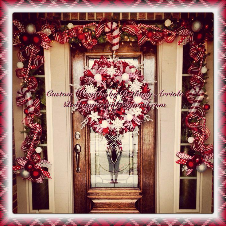 Custom Christmas candy canes snowflakes deco mesh wreath ...