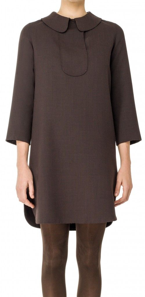 LEON MAX DOUBLEWEAVE WOOL PULLOVER DRESS. #leonmax #cloth #