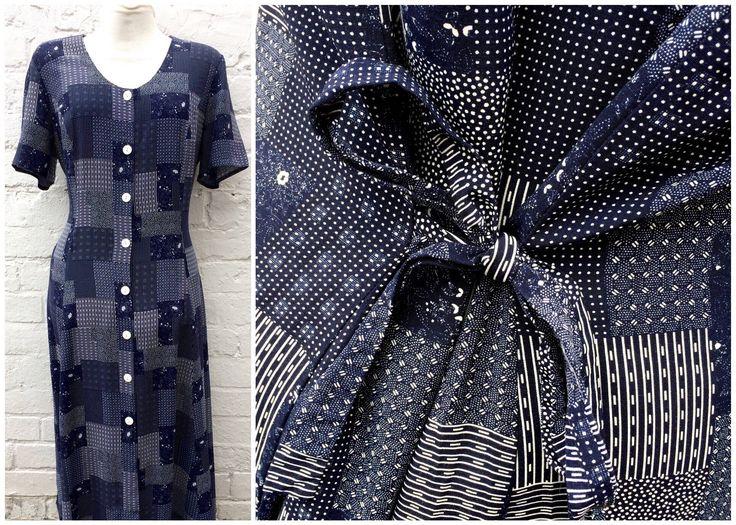 Vintage dress, patchwork print, navy grunge 90's outfit by retrobelluk on Etsy https://www.etsy.com/uk/listing/524653057/vintage-dress-patchwork-print-navy