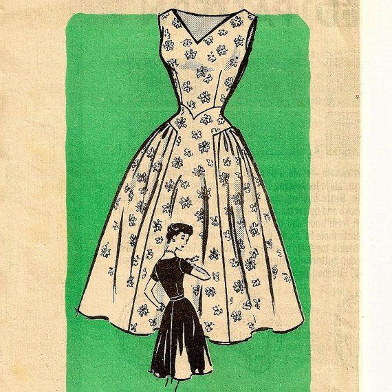 A Fabulous Retro, Full-Skirted V-Waist, V-Neckline, Sleeveless or Short Sleeve Dress Pattern, Vintage 1950s