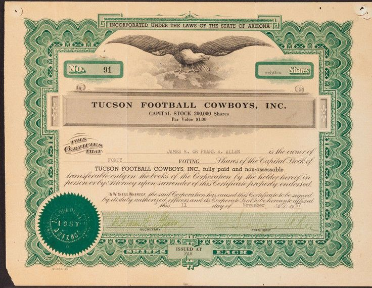 1957 Tucson Football Cowboys Original Stock Certificate