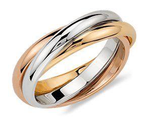 Trio Rolling Ring in 18k Tri-Color Gold and in a 9 .This is a together ring for the love my Randy and i. I miss you since i loss you Saturday 11/10/12 l will see you soon and may Jesus be with you always ..helloo my sweety ..20 yrs together is a long time with special memories
