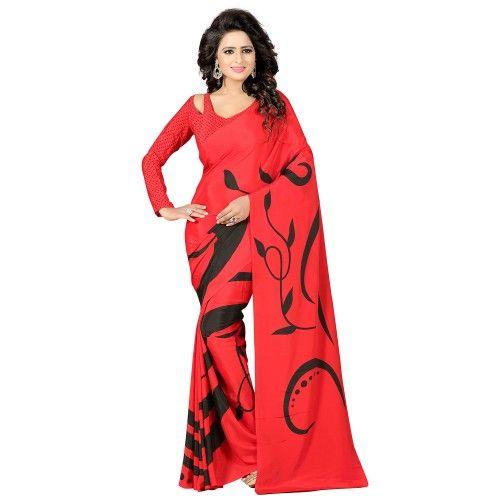 Crepe Red Printed Saree - FP0811