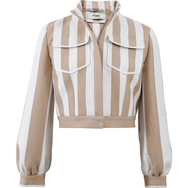Fendi Striped Cropped Jacket ($2,000) ❤ liked on Polyvore featuring outerwear, jackets, fendi, cropped jacket, stripe jacket, cropped cotton jacket and brown cropped jacket