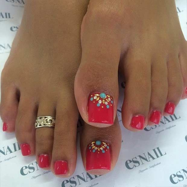 Red Pedicure Design with Golden Rhinestones